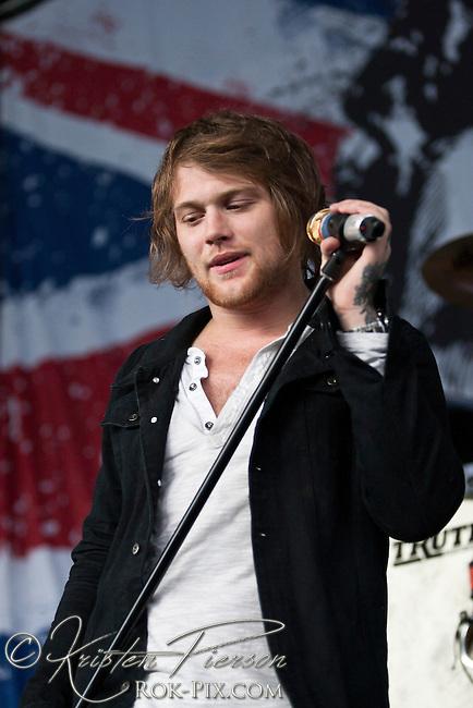 Asking Alexandria perform at the Rockstar Mayhem Festival in Mansfield, Massachusetts, August 3, 2012