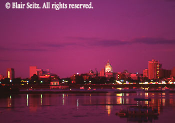 PA Capitol, Harrisburg Skyline, Susquehanna River, Night Lights
