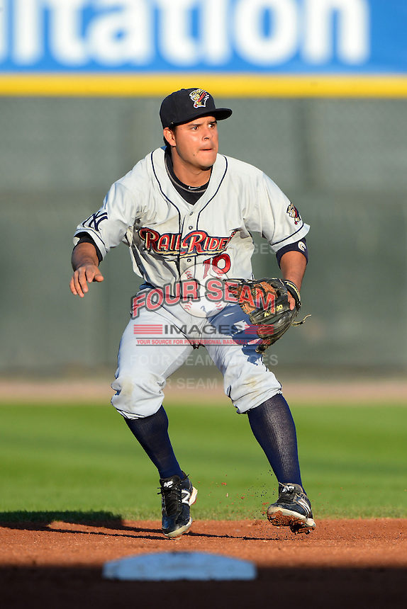 Scranton Wilkes-Barre RailRiders second baseman Walter Ibarra #16 during a game against the Rochester Red Wings on June 19, 2013 at Frontier Field in Rochester, New York.  Scranton defeated Rochester 10-7.  (Mike Janes/Four Seam Images)