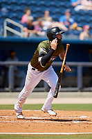Biloxi Shuckers third baseman Lucas Erceg (17) runs to first base during a game against the Jacksonville Jumbo Shrimp on May 6, 2018 at MGM Park in Biloxi, Mississippi.  Biloxi defeated Jacksonville 6-5.  (Mike Janes/Four Seam Images)