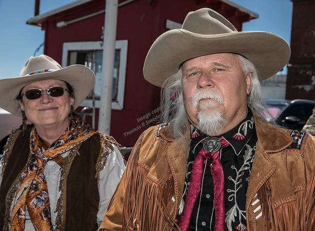 Chuck Baldauskas (Buffalo Bill) and Mary Baldauskas (Lulu Bell Parr) on their 45th wedding anniversary at the 34th Annual Chili on the Comstock Cook Off in Virginia City on Sunday, May 21, 2017.