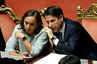 Luciana Lamorgese and Giuseppe Conte <br /> Rome September 10th 2019. Senate. Discussion and Trust vote at the new Government. <br /> Foto  Samantha Zucchi Insidefoto