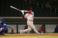 Scottsdale Scorpions second baseman Shed Long (6), of the Cincinnati Reds organization, follows through on his swing during an Arizona Fall League game against the Mesa Solar Sox at Sloan Park on October 10, 2018 in Mesa, Arizona. Scottsdale defeated Mesa 10-3. (Zachary Lucy/Four Seam Images)