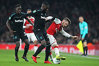 Calum Chambers of Arsenal and Arthur Masuaku of West Ham United during the Carabao Cup Quarter Final match between Arsenal and West Ham United at Emirates Stadium on December 19th 2017 in London, England. <br /> Premier League 2017/2018 <br /> Foto Panoramic / Insidefoto