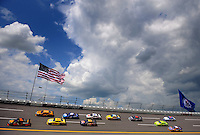 Apr 25, 2008; Talladega, AL, USA; NASCAR Sprint Cup Series driver Martin Truex Jr (1) leads a pack of cars during practice for the Aarons 499 at Talladega Superspeedway. Mandatory Credit: Mark J. Rebilas-