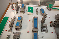 A model shows the layout of a Bashneft oil refinery in Ufa, Bashkortostan, Russia. The area is a major oil and gas producing region in the country.