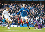 Nikica Jelavic celebrates his first and Rangers second goal as Shaun Hutchison and Darren Randolph are gutted