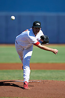 Peoria Javelinas pitcher Kyle Simon #18, of the Philadelphia Phillies organization, during an Arizona Fall League game against the Salt River Rafters at Peoria Stadium on October 17, 2012 in Peoria, Arizona.  Salt River defeated Peoria 12-9.  (Mike Janes/Four Seam Images via AP Images)