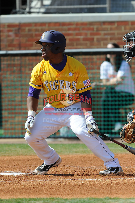 Trey Watkins #3 of the LSU Tigers at Lindsey Nelson Stadium in game against Tennessee Volunteers in Knoxville, TN March 27, 2010 (Photo by Tony Farlow/Four Seam Images)