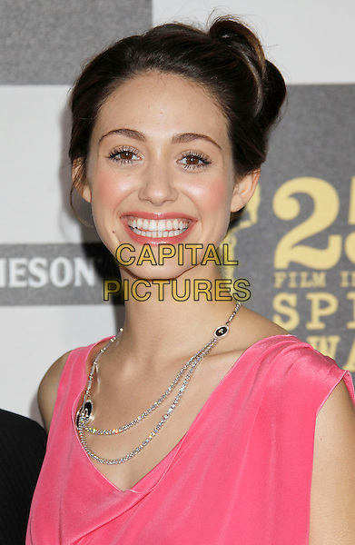 EMMY ROSSUM .25th Annual Film Independent Spirit Awards - Arrivals held at the Nokia Event Deck at L.A. Live, Los Angeles, California, USA, 5th March 2010..indie portrait pink velvet hair up silver diamond necklace make-up beauty smiling .CAP/ADM/MJ.©Michael Jade/AdMedia/Capital Pictures.