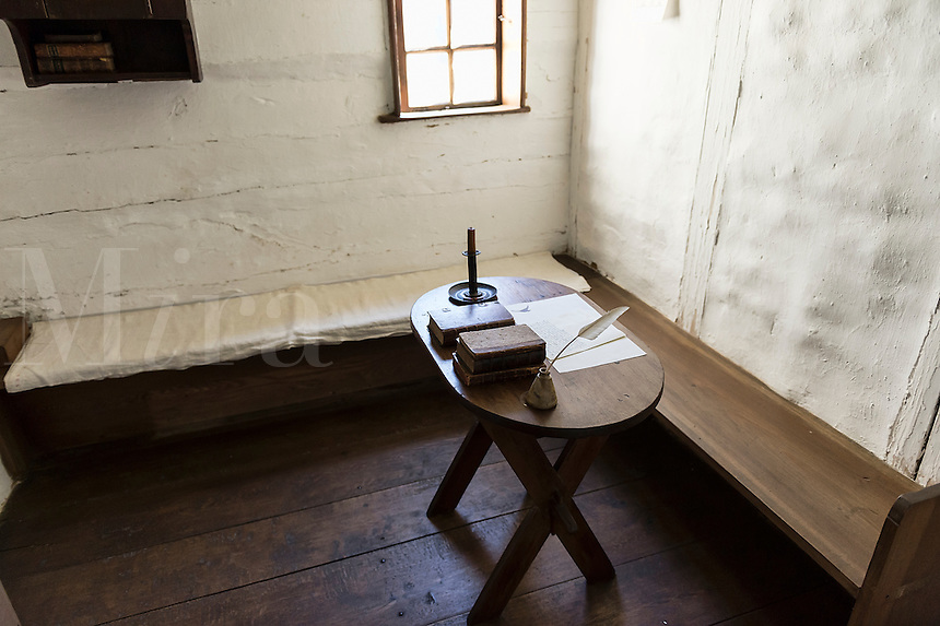Bedroom and writing table, Ephrata Cloister, Pennsylvania, USA