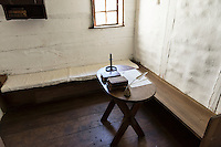 Bedroom and writing table, Ephrata Cloister, Pennsylvania, USA