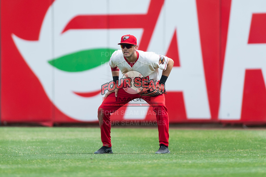 Fresno Grizzlies right fielder Alec Keller (9) during a game against the Reno Aces at Chukchansi Park on April 8, 2019 in Fresno, California. Fresno defeated Reno 7-6. (Zachary Lucy/Four Seam Images)