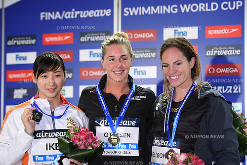 (L-R) Rikako Ikee (JPN), Jeanette Ottesen (DEN), Emily Seebohm (AUS), <br /> OCTOBER 26, 2016 - Swimming : FINA Swimming World Cup Tokyo <br /> Women's 50m Butterfly Award Ceremony <br /> at Tatsumi International Swimming Pool, Tokyo, Japan. <br /> (Photo by AFLO SPORT)
