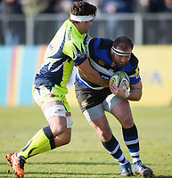Henry Thomas of Bath Rugby fends Jono Ross of Sale Sharks. Aviva Premiership match, between Bath Rugby and Sale Sharks on February 24, 2018 at the Recreation Ground in Bath, England. Photo by: Patrick Khachfe / Onside Images