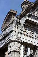 Detail of pediment, entablature and capital, Temple of Antoninus and Faustina (141 AD), transformed in the Christian era into the church of San Lorenzo In Miranda, Roman Forum, Rome, Italy, Europe.