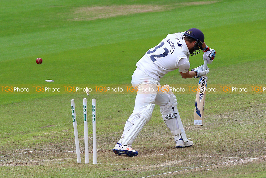 Jaik Mickleburgh of Essex is bowled out by Timm van der Gugten during Glamorgan CCC vs Essex CCC, Specsavers County Championship Division 2 Cricket at the SSE SWALEC Stadium on 23rd May 2016