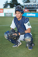 Pulaski Yankees catcher Anthony Seigler (11) poses for a photo prior to the game against the Burlington Royals at Burlington Athletic Stadium on August 10, 2018 in Burlington, North Carolina. The Yankees defeated the Royals 9-5. (Brian Westerholt/Four Seam Images)