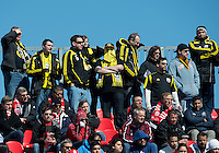 31 March 2011: The Columbus Crew fans supporting their team during a game between the Columbus Crew and the Toronto FC at BMO Field in Toronto, Ontario Canada..The Columbus Crew won 1-0.