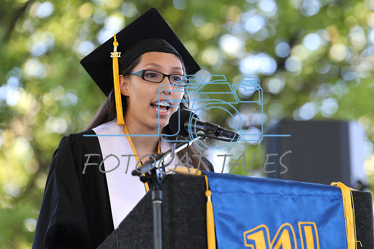 ASWN President Diana Gurrola speaks during the Western Nevada College 2017 Commencement in Carson City, Nev. on Monday, May 22, 2017.  <br />