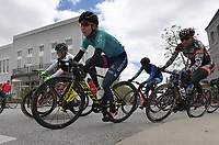 NWA Democrat-Gazette/J.T. WAMPLER Pro women racers make a turn on the square during the criterium portion of the 41st annual Joe Martin Stage Race in downtown Fayetteville Sunday April 15, 2018. The three day event wrapped up Sunday.