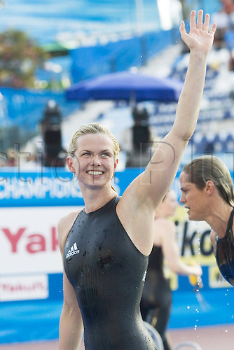 02.08.2009 Britta Steffen, GER, celebrating after her victory 50m Free style at the Swimming World Cup in Rome.