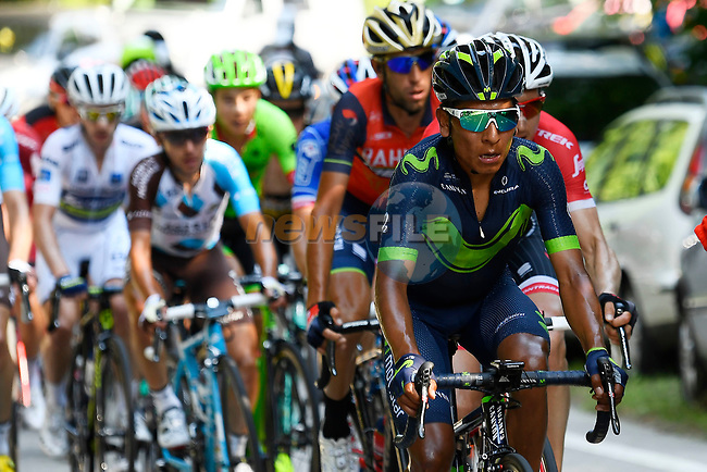 Nairo Quintana (COL) Movistar Team in action during Stage 19 of the 100th edition of the Giro d'Italia 2017, running 191km from San Candido/Innichen to Piancavallo, Italy. 26th May 2017.<br /> Picture: LaPresse/Fabio Ferrari | Cyclefile<br /> <br /> <br /> All photos usage must carry mandatory copyright credit (&copy; Cyclefile | LaPresse/Fabio Ferrari)