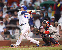 August 18, 2007: Short Stop Ryan Theriot of the Chicago Cubs at bat against the St. Louis Cardinals at Wrigley Field in Chicago, IL.  Photo by:  Chris Proctor/Four Seam Images
