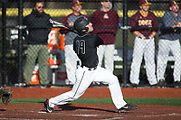Carmen Sclafani (19) of the Rutgers Scarlet Knights follows through on his swing against the Iona Gaels at City Park on March 8, 2017 in New Rochelle, New York.  The Scarlet Knights defeated the Gaels 12-3.  (Brian Westerholt/Four Seam Images)
