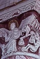 Europe/France/Poitou-Charentes/86/Vienne/Chauvigny: Eglise Saint-Pierre- Chapiteau du choeur: Le pèsement des ames