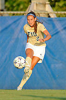 27 August 2011:  FIU's Chelsea Leiva (2) passes the ball in the first half as the FIU Golden Panthers defeated the University of Arkon Zips, 1-0, at University Park Stadium in Miami, Florida.