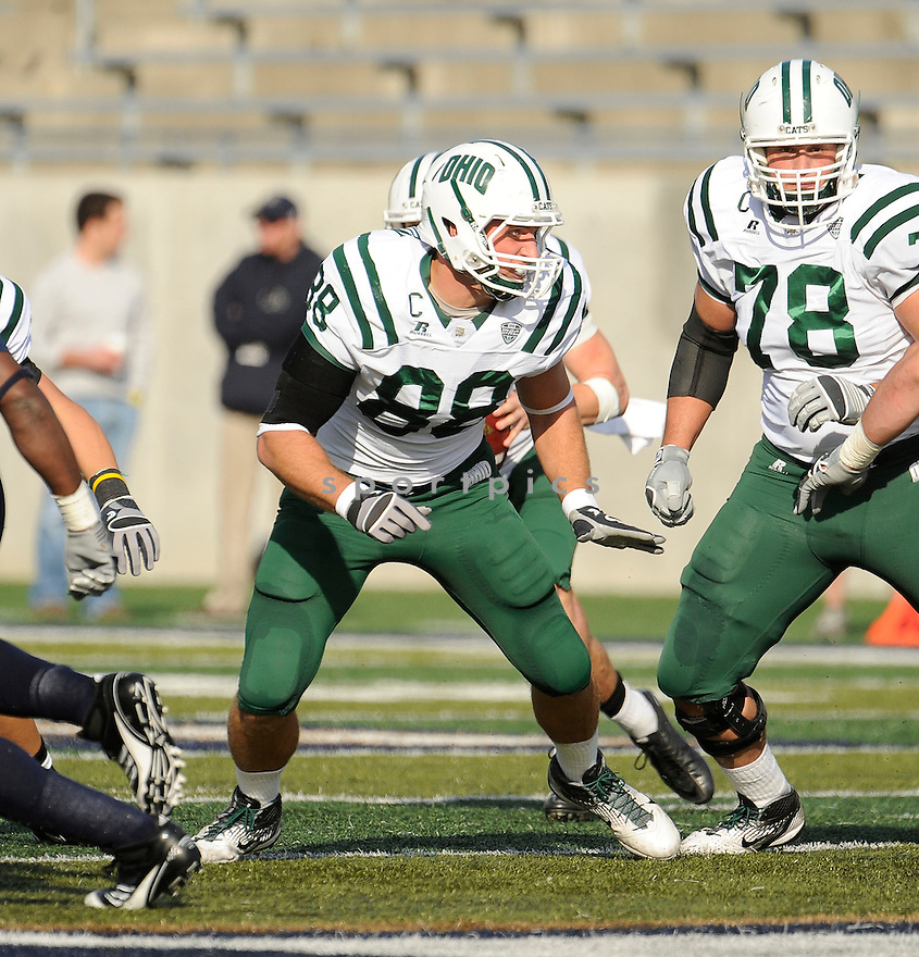 JORDAN THOMPSON, of the Ohio Bobcats, in action, during Ohio'c game against the Akron Zips on October 22, 2011 at InfoCision Stadium-Summa Field in Akron, OH. Ohio beat Akron 37-20.