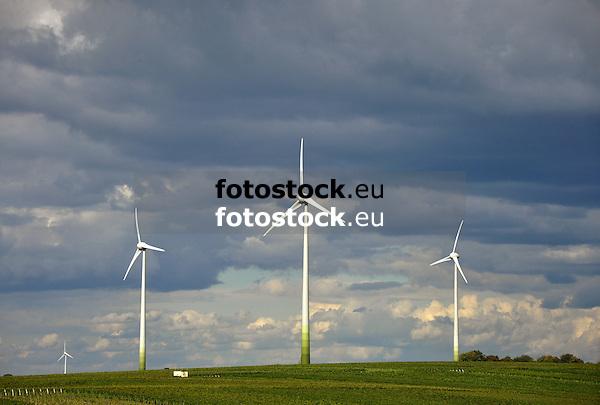 Windräder in den Weinbergen von Spiesheim