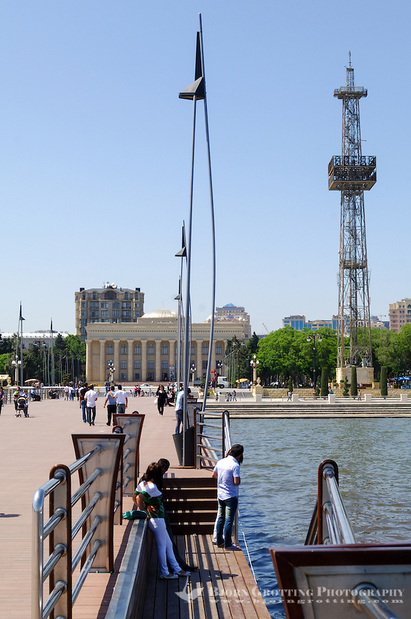 Azerbaijan, Baku. Baku Boulevard is a promenade that runs parallel to Baku's seafront. Azerbaijan State Carpet Museum in the background.