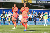 Huddersfield Town's Elias Kachunga applauds the fans at the final whistle <br /> <br /> Luke Brennan/CameraSport<br /> <br /> The EFL Sky Bet Championship - Queens Park Rangers v Huddersfield Town - Saturday 10th August 2019 - Loftus Road - London<br /> <br /> World Copyright © 2019 CameraSport. All rights reserved. 43 Linden Ave. Countesthorpe. Leicester. England. LE8 5PG - Tel: +44 (0) 116 277 4147 - admin@camerasport.com - www.camerasport.com
