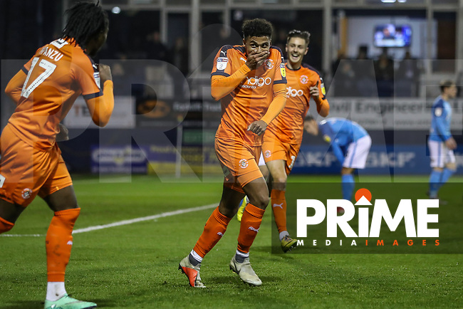 GOAL - James Justin of Luton Town (centre) celebrates after he scores the opening goal during the Sky Bet League 1 match between Luton Town and Bradford City at Kenilworth Road, Luton, England on 27 November 2018. Photo by David Horn.