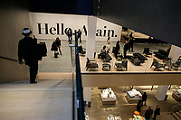 """NEW YORK NY - OCTOBER 17: Visitors pass by the installation """"hello again"""" by Haim Steinbach at newly-expanded Museum of Modern Art on the new 53rd Street lobby in New York City on October 17, 2019. The museum reopens to the public on Monday, Oct. 21 after $450 million expansion (Photo by Kena Betancur/VIEWpress)"""
