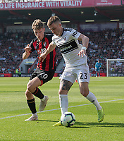 Bournemouth's David Brooks (left) vies for possession with Fulham's Joe Bryan (right) <br /> <br /> Photographer David Horton/CameraSport<br /> <br /> The Premier League - Bournemouth v Fulham - Saturday 20th April 2019 - Vitality Stadium - Bournemouth<br /> <br /> World Copyright © 2019 CameraSport. All rights reserved. 43 Linden Ave. Countesthorpe. Leicester. England. LE8 5PG - Tel: +44 (0) 116 277 4147 - admin@camerasport.com - www.camerasport.com