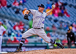15 April 2018: Colorado Rockies pitcher Jake McGee on the mound against the Washington Nationals at Nationals Park in Washington, DC. All MLB players wore Number 42 to commemorate the life of Jackie Robinson and to celebrate Black Heritage Day in pro baseball. The Rockies edged out the Nationals 6-5 to take the final game of their 4-game series. Mandatory Credit: Ed Wolfstein Photo *** RAW (NEF) Image File Available ***