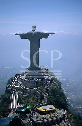 Rio de Janeiro, Brazil. Aerial view of The Statue of Christ the Redeemer, Corcovado with the escalator from the car park.
