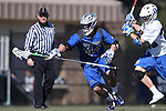 08 February 2015: Air Force's Luke Toscano (44) is chased by Duke's Ian Yanulis (right). The Duke University Blue Devils hosted the United States Air Force Academy Falcons at Koskinen Stadium in Durham, North Carolina in a 2015 NCAA Division I Men's Lacrosse match. Duke won the game 13-7.