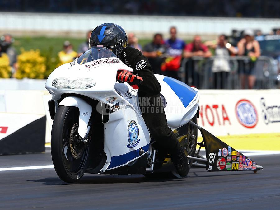Jun. 2, 2013; Englishtown, NJ, USA: NHRA pro stock motorcycle rider Steve Johnson during the Summer Nationals at Raceway Park. Mandatory Credit: Mark J. Rebilas-