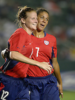 Cindy Parlow, left, Shannon Boxx, right, USWNT vs. Costa Rica, September 1, 2003.
