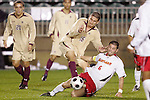 14 November 2008: Boston College's Alejandro Bedoya (16) and Maryland's Rich Costanzo (6). The University of Maryland defeated Boston College 1-0 at WakeMed Stadium at WakeMed Soccer Park in Cary, NC in a men's ACC tournament semifinal game.