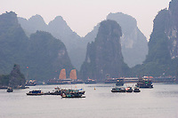 Halong Bay on northern Vietnam coastline.  Thousands of Limestone Islands dot the bay.