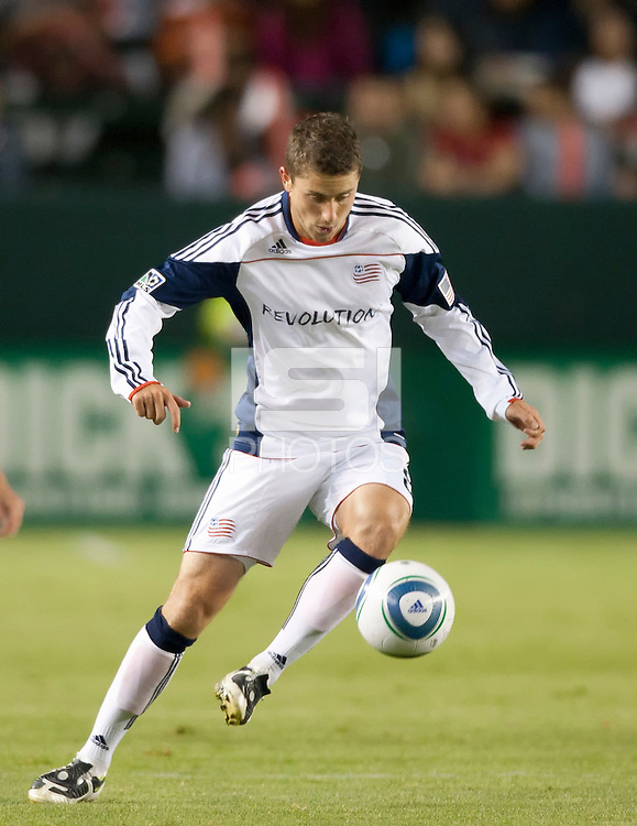 Revolution midfielder Chris Tierney (8) moves the ball across the field during the second half of the game between Chivas USA and the New England Revolution at the Home Depot Center in Carson, CA, on September 10, 2010. Chivas USA 2, New England Revolution 0.