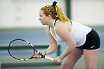 Chandler Carter of the Wake Forest Demon Deacons during the match against the Liberty Flames at the Wake Forest Indoor Tennis Center on March 11, 2017 in Winston-Salem, North Carolina. The Demon Deacons defeated the Flames 7-0.  (Brian Westerholt/Sports On Film)