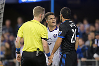San Jose, CA - Wednesday May 17, 2017: Victor Pagliari Giro, Marco Ureña, Drew Fischer during a Major League Soccer (MLS) match between the San Jose Earthquakes and Orlando City SC at Avaya Stadium.