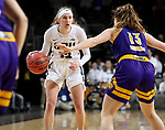 SIOUX FALLS, SD - MARCH 8: Rachel Skalnik #13 of the Oral Roberts Golden Eagles setup up the play against Olivia Kaufmann #13 of the Western Illinois Leathernecks at the 2020 Summit League Basketball Championship in Sioux Falls, SD. (Photo by Dave Eggen/Inertia)