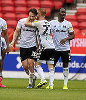 7th July 2020; City Ground, Nottinghamshire, Midlands, England; English Championship Football, Nottingham Forest versus Fulham; Harry Arter of Fulham is congratulated on his goal by his team mates
